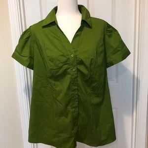 Lane Bryant 18 Button Front Short Sleeve Shirt
